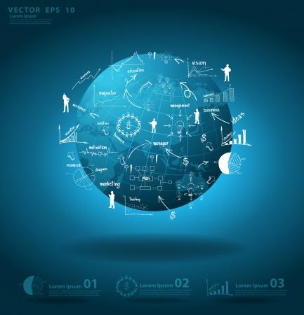 상업: 인포 그래픽 창조적 인 그림 차트와 세계지도 배경에 그래프 사업 계획 아이디어의 요소와 세계 경제의 개념을 글로벌 비즈니스,