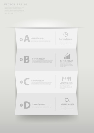 Modern business step folded paper style options banner  Vector