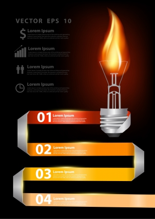 fire symbol: Modern business step origami style options banner with creative light bulb burn flame fire