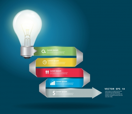 Creative light bulb with modern business step origami style options banner  Vector