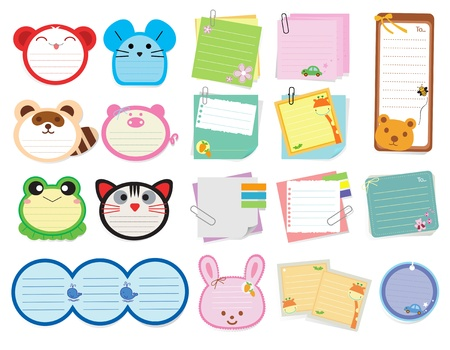 note pad: Collection of various note papers, Vector illustration template design