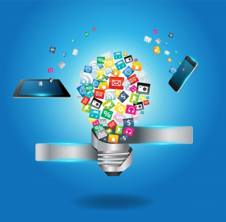 interaccion social: Bombilla creativa con nube de colorido icono de la aplicaci�n, software de negocios y los medios de comunicaci�n concepto de servicio de red social, ilustraci�n vectorial plantilla de dise�o moderno