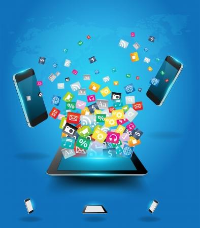 カラフルなアプリケーション アイコン、ビジネス ソフトウェア、ソーシャル メディア オンライン ネットワークの雲の携帯電話で創造的なタブレッ