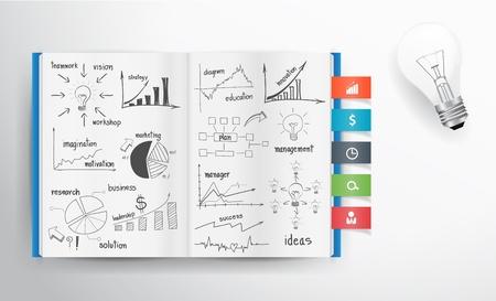 Vector business concept en grafiek tekenen op boek