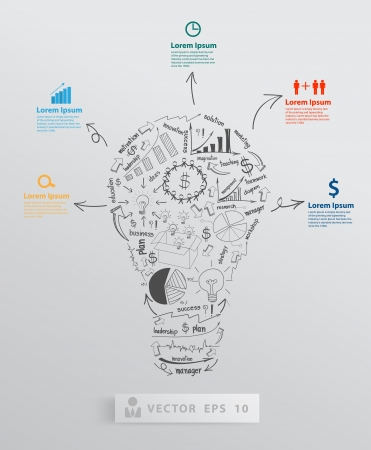 business success: Creative light bulb with element drawing business success strategy plan concept idea, Vector illustration modern template Design