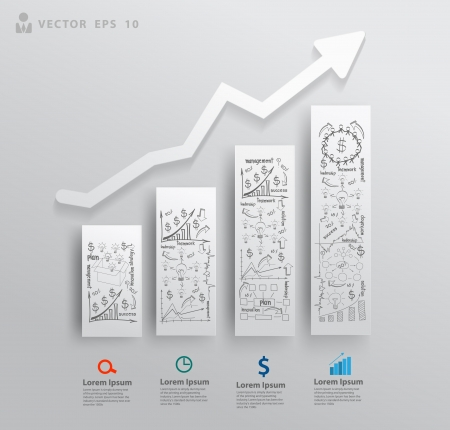 vision business: Abstract 3D paper charts and graphs, With drawing business success strategy plan concept idea, Vector illustration modern template design for workflow layout, diagram, number options, step up options   Illustration
