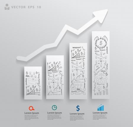Abstracte 3D papieren kaarten en grafieken, Met het tekenen zakelijk succes strategieplan begrip idee, Vector illustratie moderne sjabloon ontwerp voor workflow-out, diagram, het aantal opties, intensiveren opties