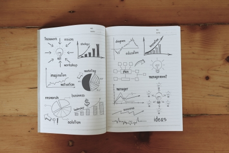 Business concept and graph drawing on book, With drawing business plan strategy plan concept idea  Stock Photo - 20273571