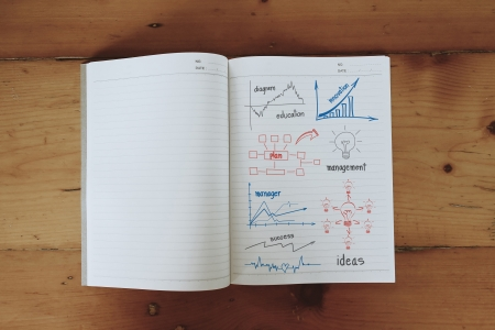 Business concept and graph drawing on book, With drawing business plan strategy plan concept idea Stock Photo - 20270583