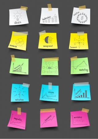 sticky notes: Post-it note papier met tekening businessplan strategieconcept idee, Vector illustratie sjabloon ontwerpen