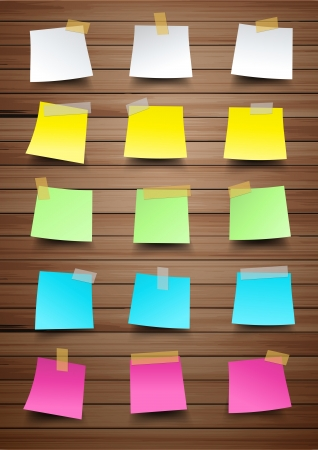 yellow sticky note: Colorful paper notes on wood texture background, Vector illustration template design