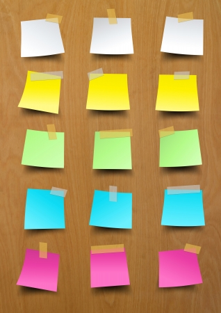Note paper, Sticky notes on wood texture background Stock Photo - 20273593