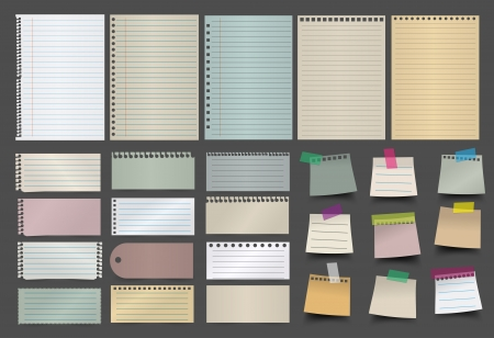note pad: Collection of various papers, ready for your message  Vector illustration