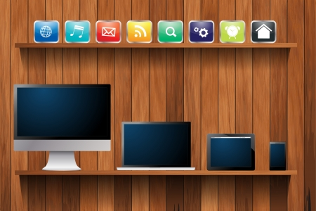 bookshelf digital: Electronic devices desktop computer, laptop, tablet and mobile phones, With cloud of colorful  app icon on wood shelf,  illustration template design