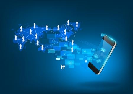 Mobile phone technology business concept, Creative network information process diagram, illustration modern template design Stock Vector - 20493660
