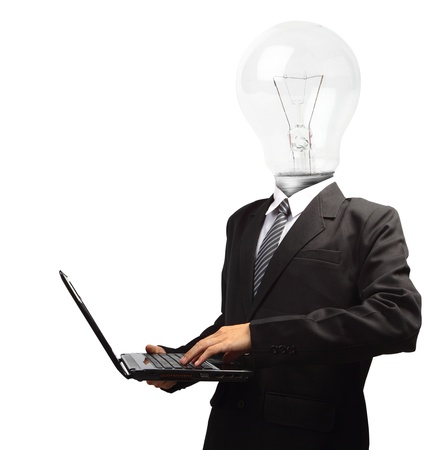 Lamp head businessman holding computer laptop PC, isolated on white background objects with clipping paths for design work photo