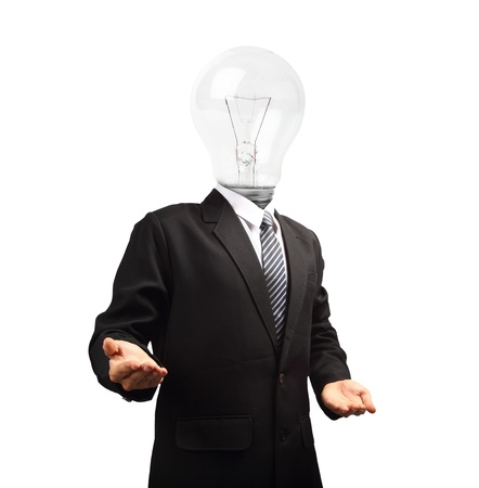 Lamp head businessman open palm hand gesture, isolated on white background objects with clipping paths for design work photo