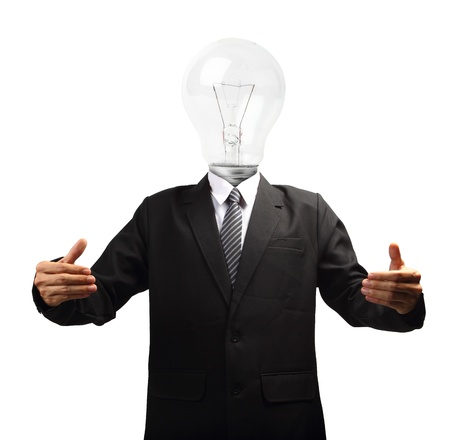 Lamp head businessman hand holding, isolated on white background objects with clipping paths for design work photo
