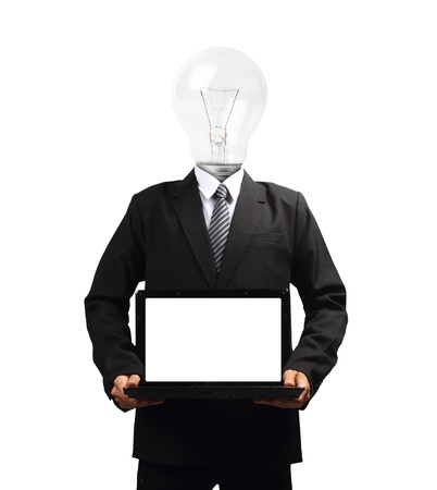 Lamp head businessman holding computer laptop screen, isolated on white background objects with clipping paths for design work photo