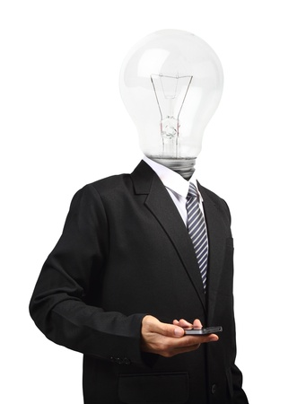 Lamp head businessman holding mobile phone, isolated on white background objects with clipping paths for design work photo