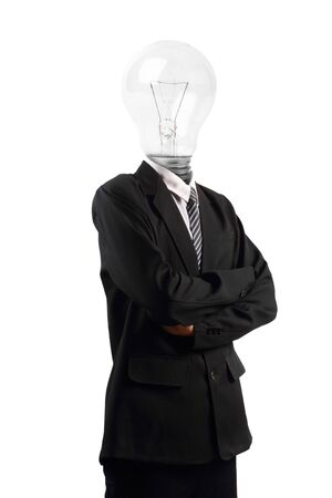 Lamp head businessman isolated on white background, Objects with clipping paths for design work photo