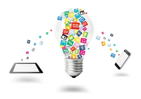 software: Creative light bulb with cloud of colorful application icon, Mobile phone with computer tablet PC business software and social media networking service concept, isolated on white background