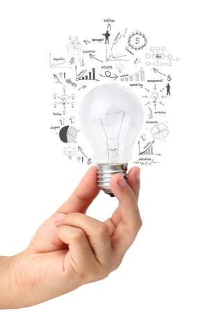 ampoule: Ampoule cr�atif dans la main avec des graphiques de dessin et des graphiques, isol� sur fond blanc