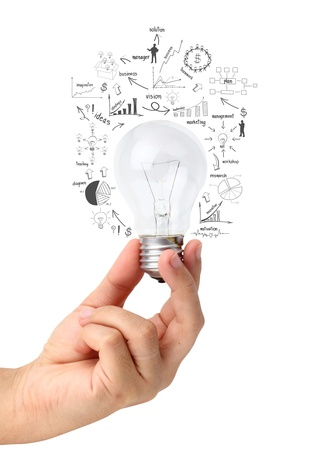 bulb: Creative light bulb in hand with drawing charts and graphs, isolated on white background Stock Photo