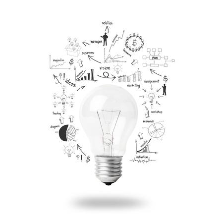 lluvia de ideas: Bombilla con el dibujo de negocio plan estrat�gico idea de concepto, aislado en fondo blanco Foto de archivo