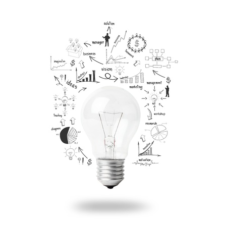 Light bulb with drawing business plan strategy concept idea, isolated on white background   photo