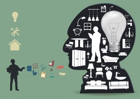 escritorio: Electrodomésticos iconos en una silueta de cabeza masculina, mejoras para el hogar y servicio de decoración idea de concepto, ilustración vectorial plantilla de diseño moderno Vectores