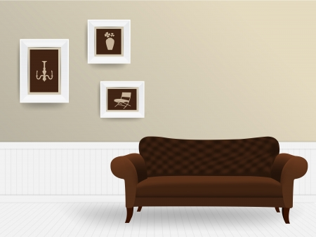 vase plaster: Living room interior concept, Vector illustration modern template design