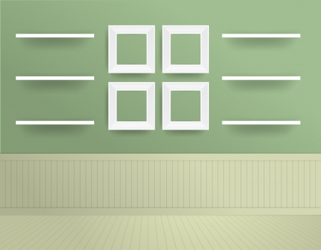 White modern frames on the wall, Vector illustration template design Vector