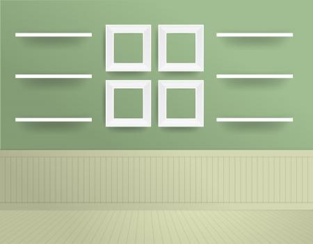 White modern frames on the wall, Vector illustration template design Stock Vector - 20709226