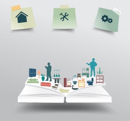 家庭電化製品アイコン、ホームの改善と装飾サービス コンセプト考え、ベクトル イラスト現代テンプレート デザインの本します。