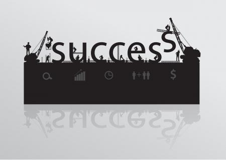 construction management: Construction site crane building success text idea concept, Vector illustration template design
