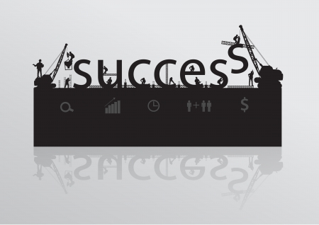 trademark: Construction site crane building success text idea concept, Vector illustration template design
