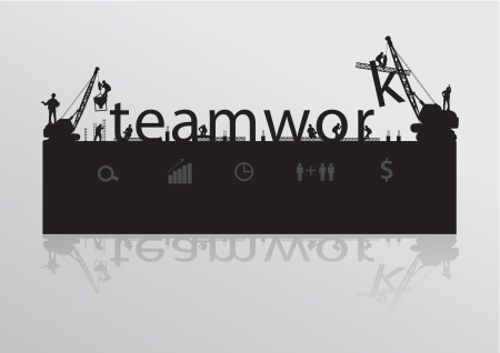 construction crane: Construction site crane building teamwork text idea concept, Vector illustration template design Illustration