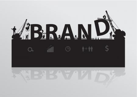 merken: Bouw kraan opbouwen van naamsbekendheid tekst idee concept, Vector illustratie sjabloon ontwerp