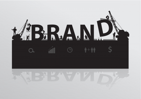 brand: Construction site crane building brand text idea concept, Vector illustration template design Illustration