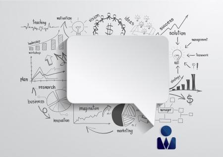 ビジネス戦略計画のコンセプトのアイデアを描画ベクトル吹き出し  イラスト・ベクター素材