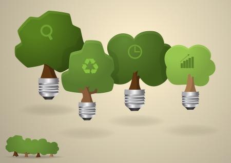 Bulb light with tree inside nature banner, Vector illustration modern design template Vector