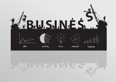 pensamiento creativo: Vector construcción grulla texto de negocios de construcción Vectores