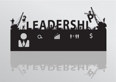 site: Vector construction site crane building leadership text  Illustration