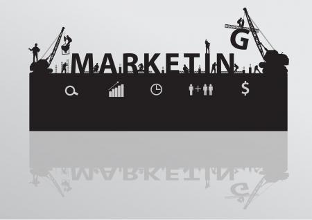 target thinking: Vector construcci�n grulla texto de marketing edificio