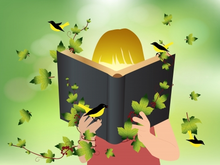 hand holding flower: Imagination concept children reading book, illustration template design