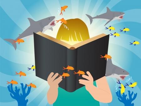 Underwater world imagination concept children reading story book Stock Vector - 21122624