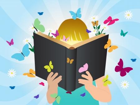 bambini che leggono: Concetto Immaginazione bambini che leggono libro di storia, design illustrazione del modello