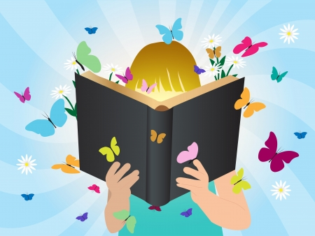 Verbeelding begrip kinderen lezen verhaal boek, illustratie sjabloon ontwerp Vector Illustratie