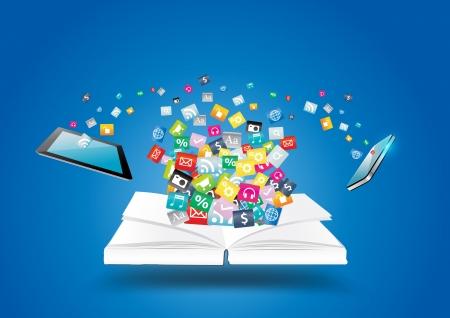Libro con los teléfonos móviles y Tablet PC PC, con la nube de aplicaciones de software de negocios colorido icono y los medios de comunicación el concepto de idea de red social, ilustración, diseño moderno plantilla